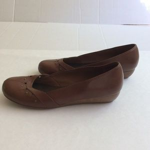 Lower East Side Brown Low Wedge Slip On Shoes Sz10